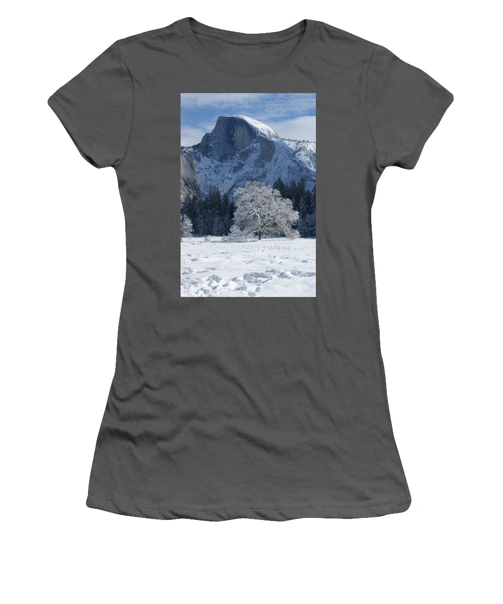 Half Dome Women's T-Shirt (Athletic Fit) featuring the photograph Half Dome In Winter by Christine Jepsen