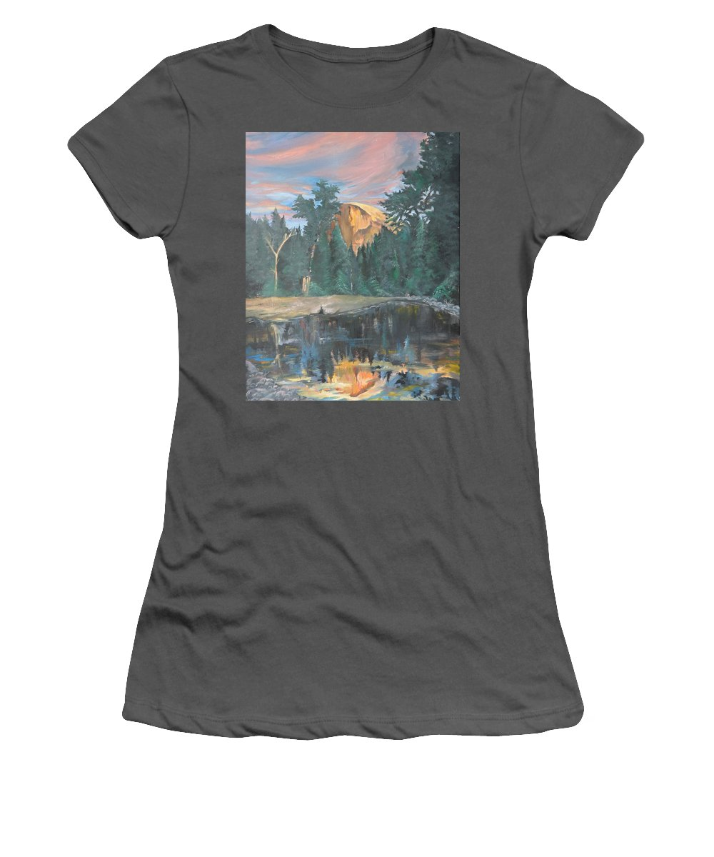 Sunset Women's T-Shirt (Athletic Fit) featuring the painting Half Dome Sunset by Travis Day