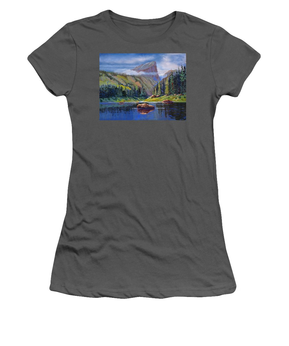Rocky Mountains Women's T-Shirt (Athletic Fit) featuring the painting Hallett Peak by Heather Coen