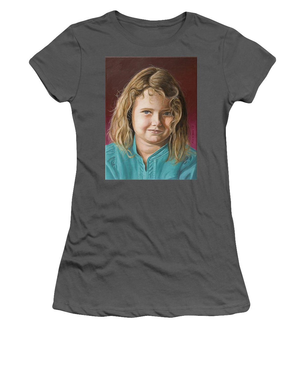 Portrait Women's T-Shirt (Athletic Fit) featuring the painting Hanna by Rob De Vries