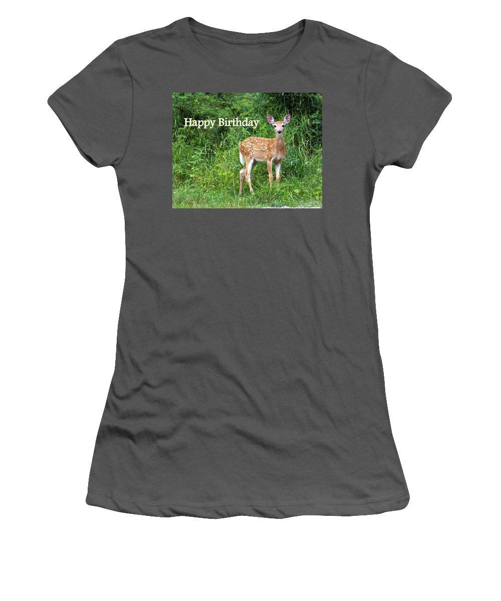 Happy Birthday Women's T-Shirt (Athletic Fit) featuring the greeting card Happy Birthday 1 by Marty Koch