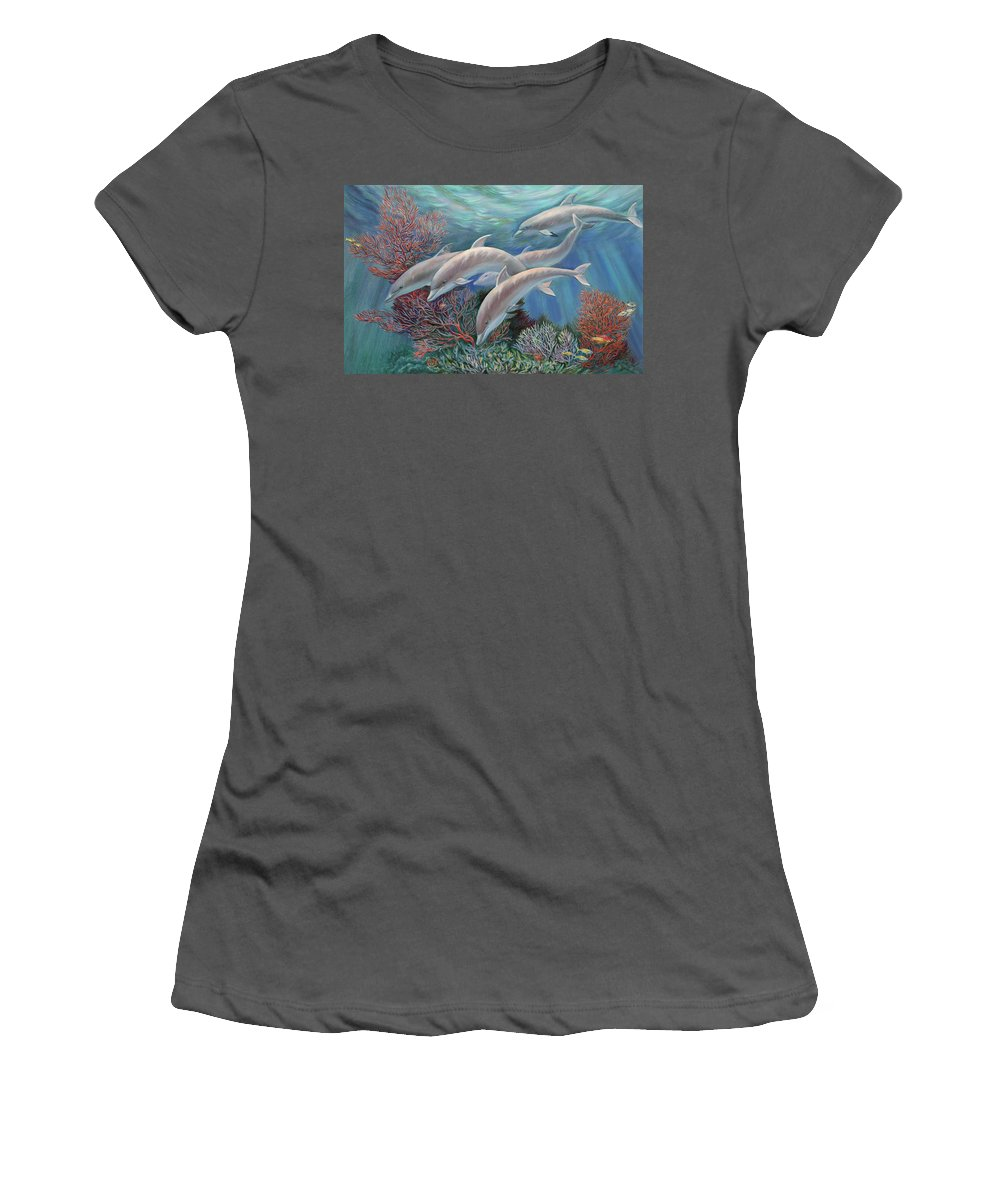 Dolphin Women's T-Shirt (Athletic Fit) featuring the painting Happy Family - Dolphins Are Awesome by Svitozar Nenyuk