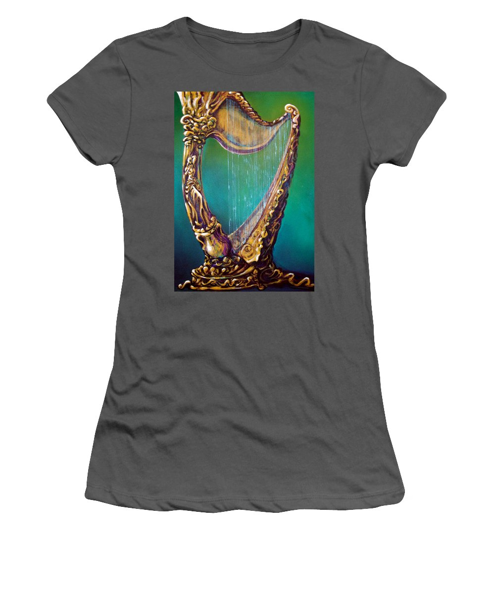 Harp Women's T-Shirt (Athletic Fit) featuring the painting Harp by Kevin Middleton