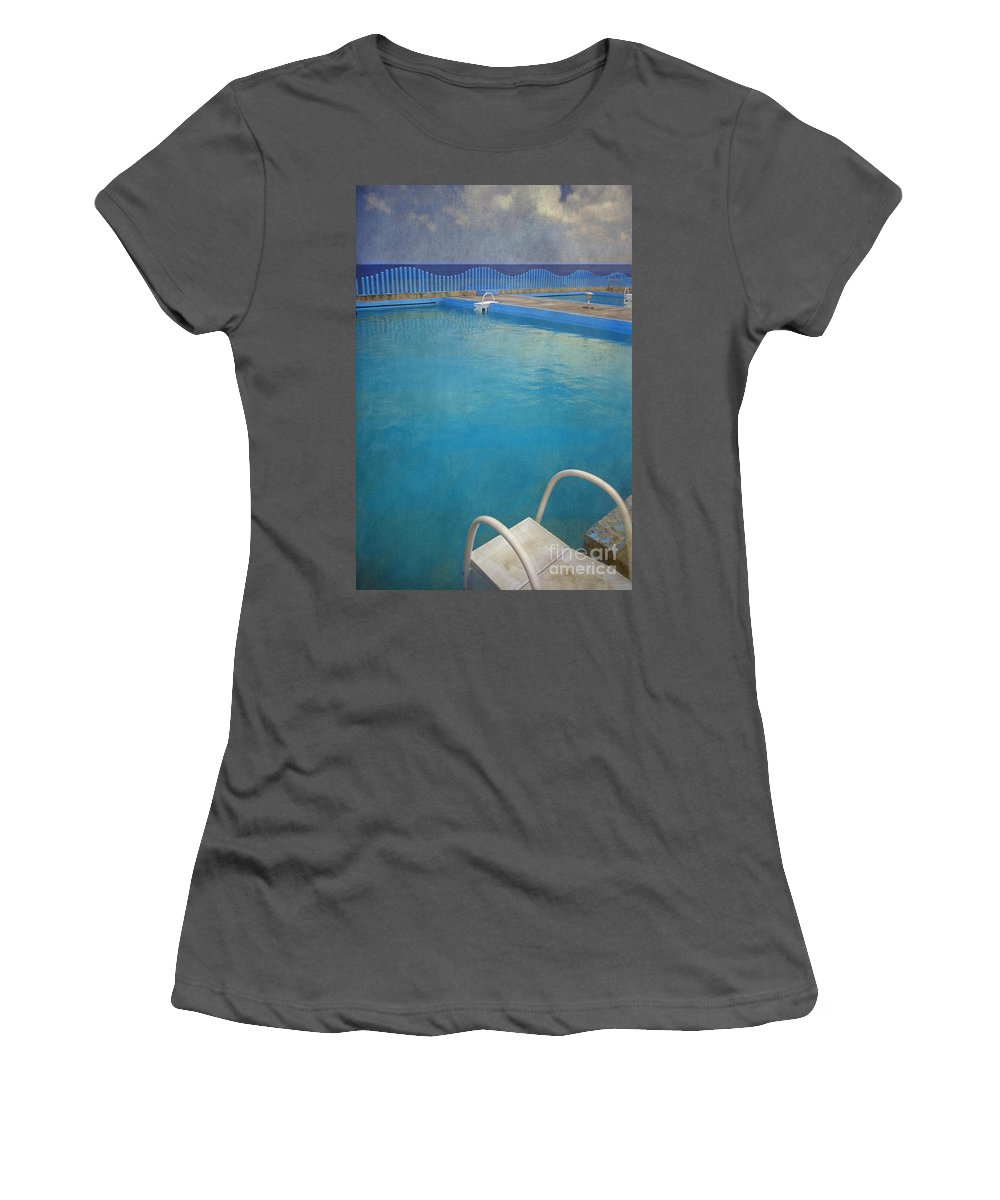 Havana Women's T-Shirt (Athletic Fit) featuring the photograph Havana Cuba Swimming Pool And Ocean by David Zanzinger