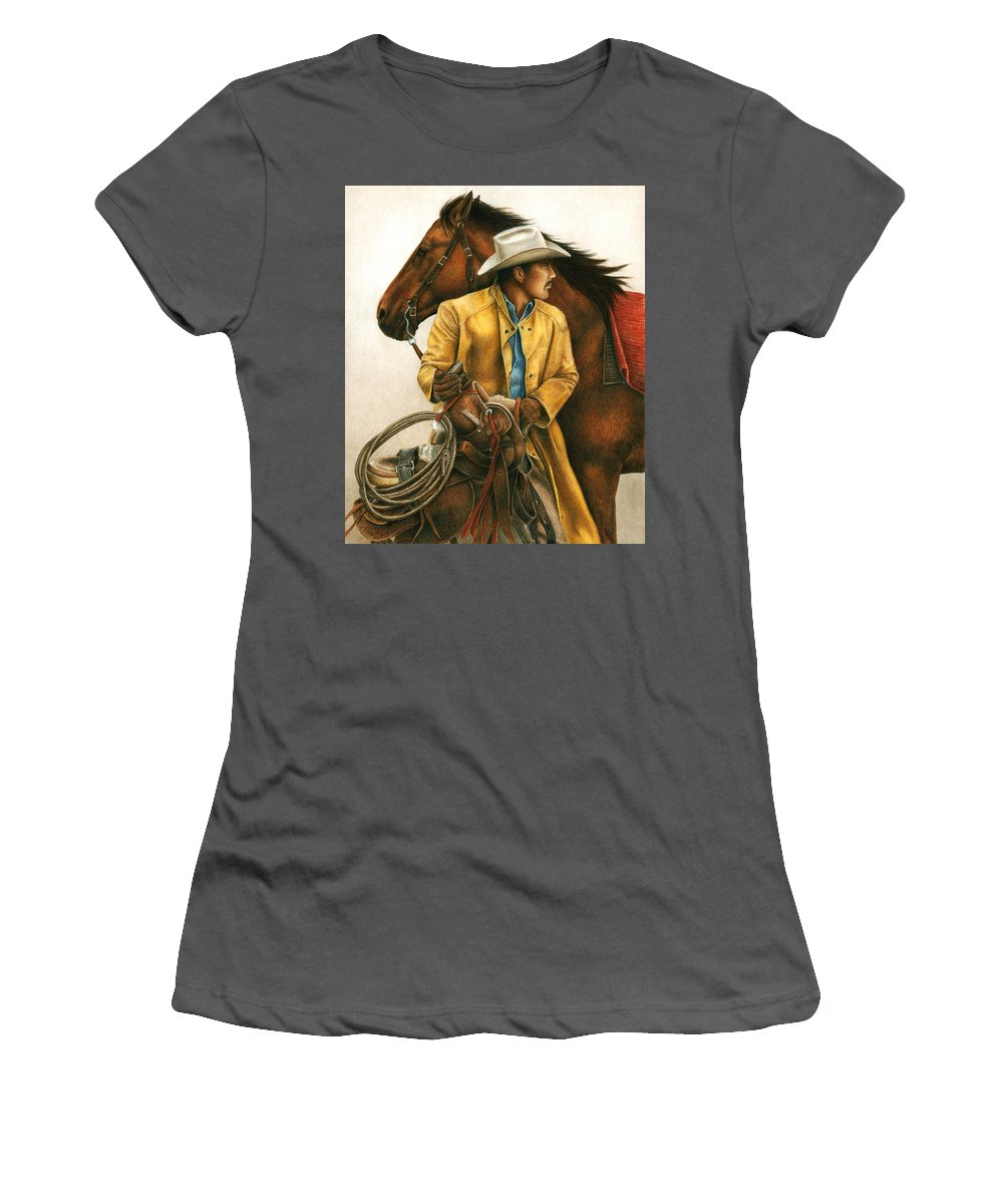 Cowboy Women's T-Shirt (Athletic Fit) featuring the painting Heading Out Into The Storm by Pat Erickson