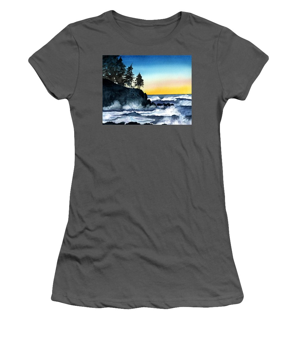 Alaska Women's T-Shirt (Athletic Fit) featuring the painting Headland by Brenda Owen