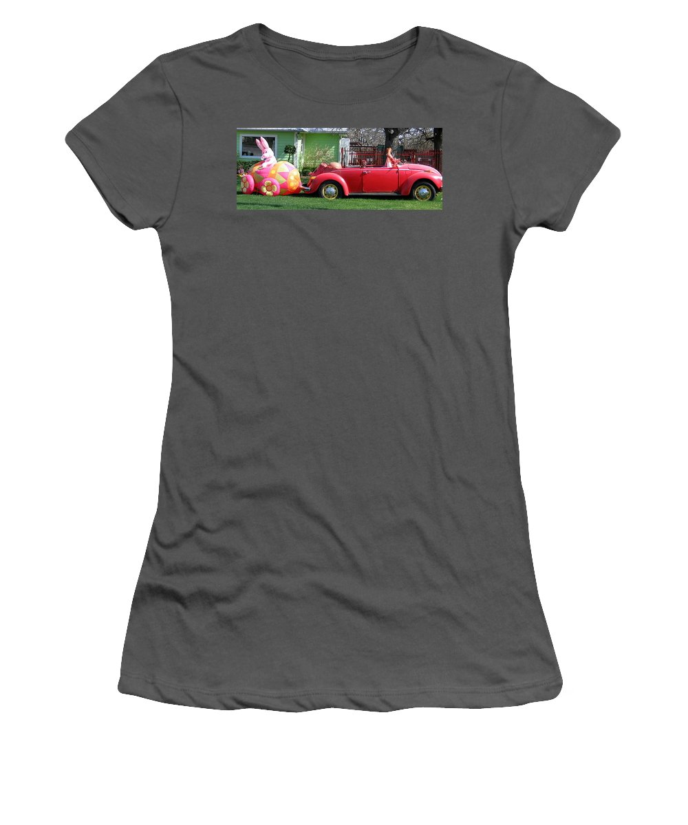 Easter Women's T-Shirt (Athletic Fit) featuring the photograph Here Comes Peter Cottontail by Amy Hosp