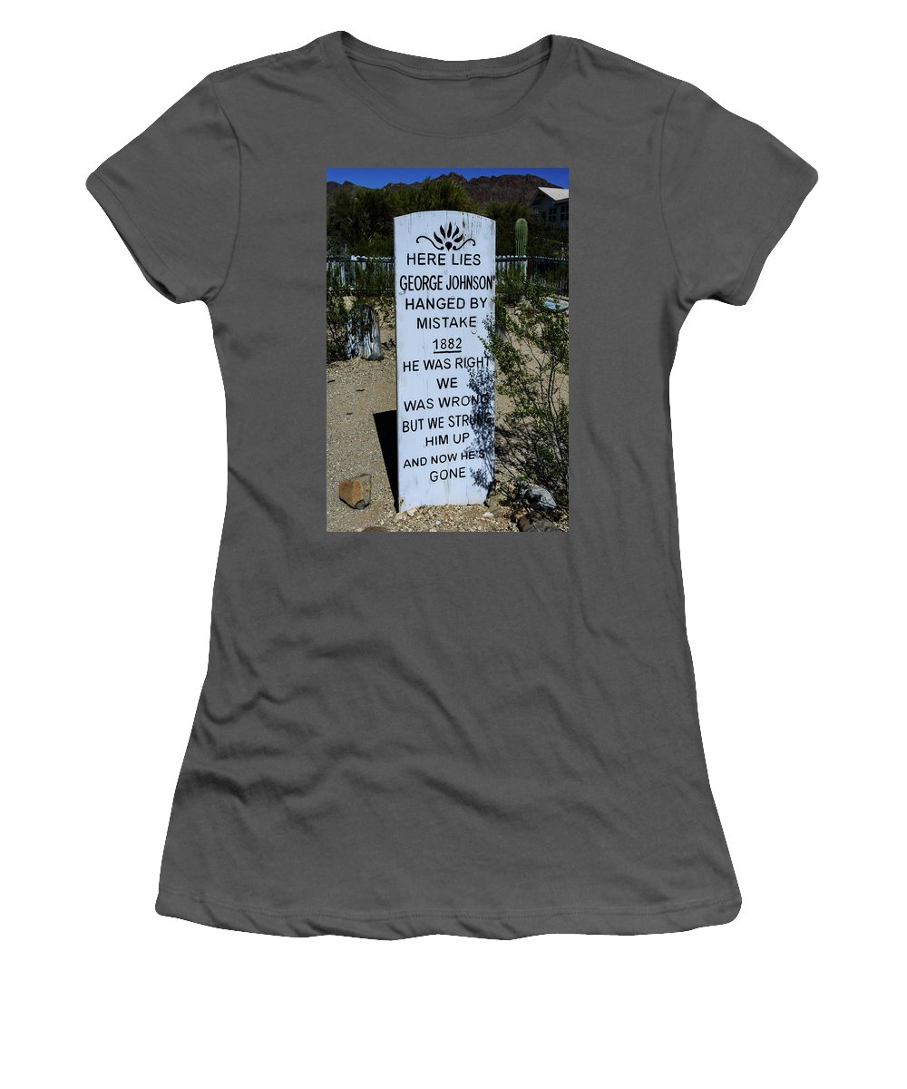 Old Tucson Women's T-Shirt (Athletic Fit) featuring the photograph Here Lies George Johnson - Old Tucson Arizona by Jon Berghoff