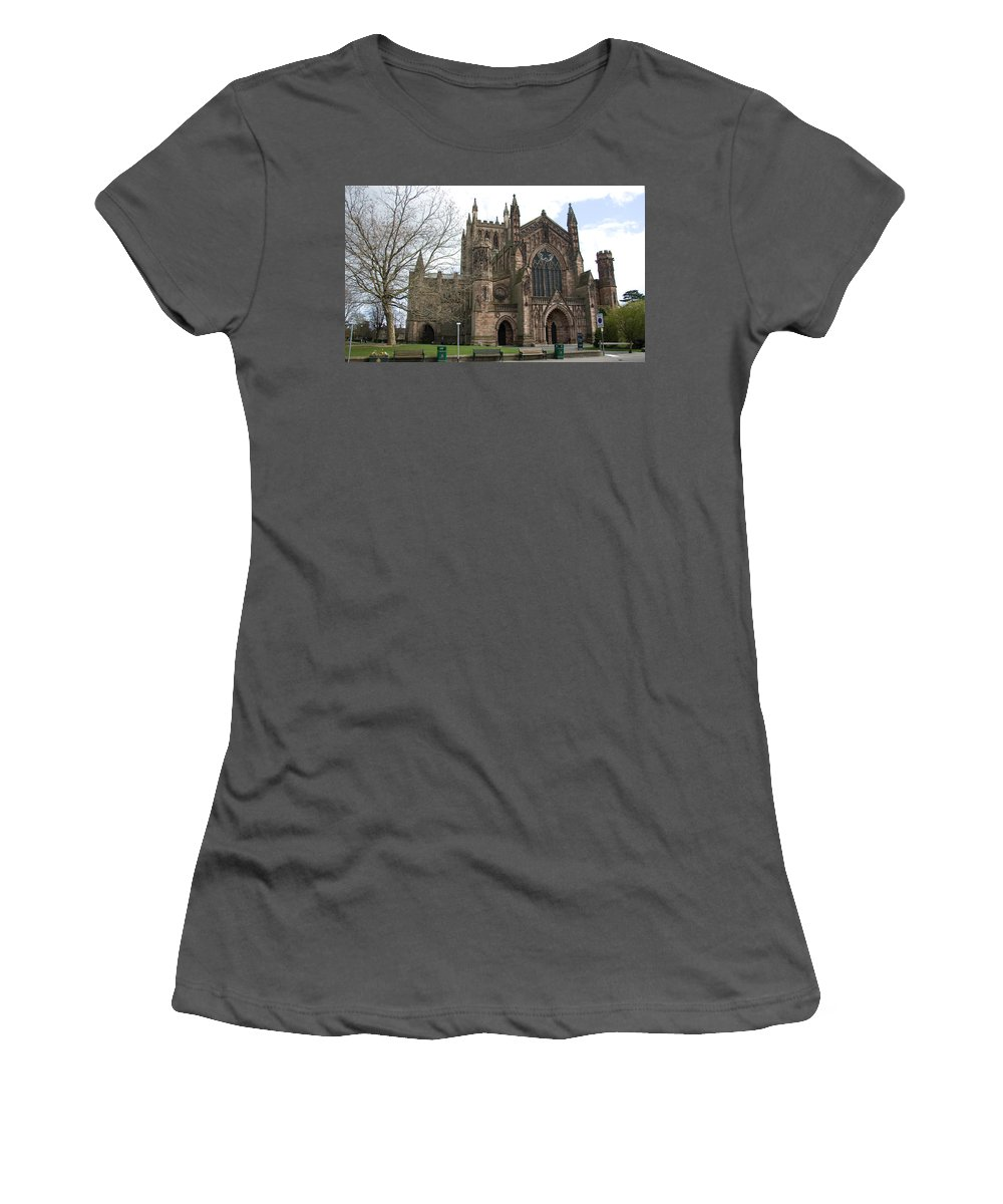 Cathedral Women's T-Shirt (Athletic Fit) featuring the photograph Hereford Cathedral England by Bob Kemp