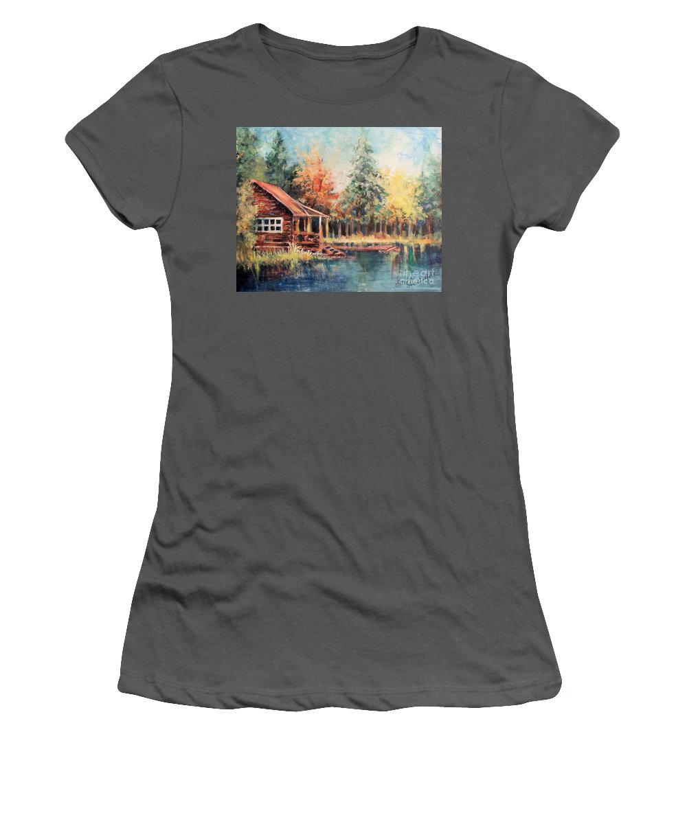 Cabin Autumn Lake Bank Fishing Hideout Women's T-Shirt (Athletic Fit) featuring the painting Hide Out Cabin by Linda Shackelford