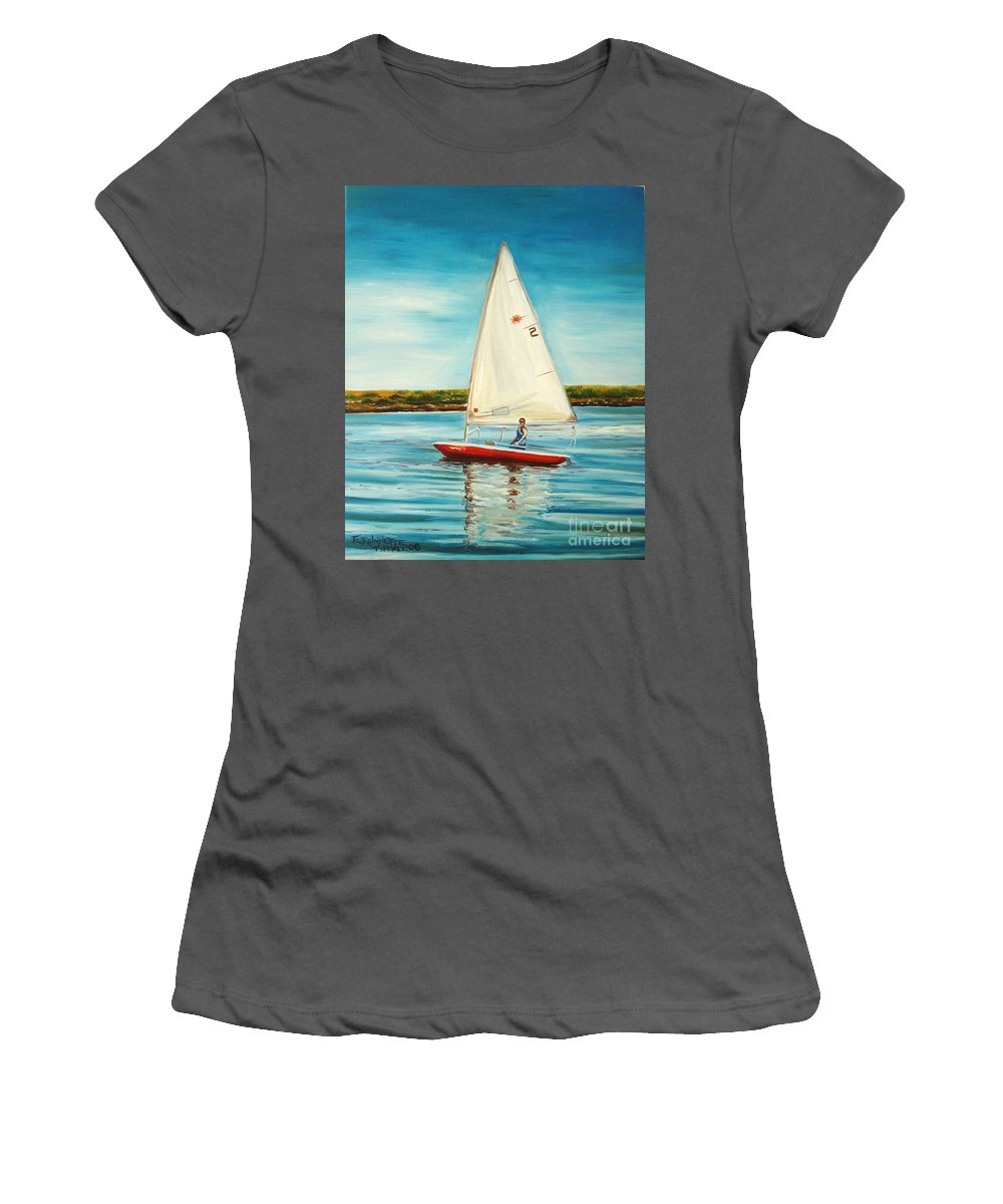 Water Women's T-Shirt (Athletic Fit) featuring the painting His Laser by Elizabeth Robinette Tyndall