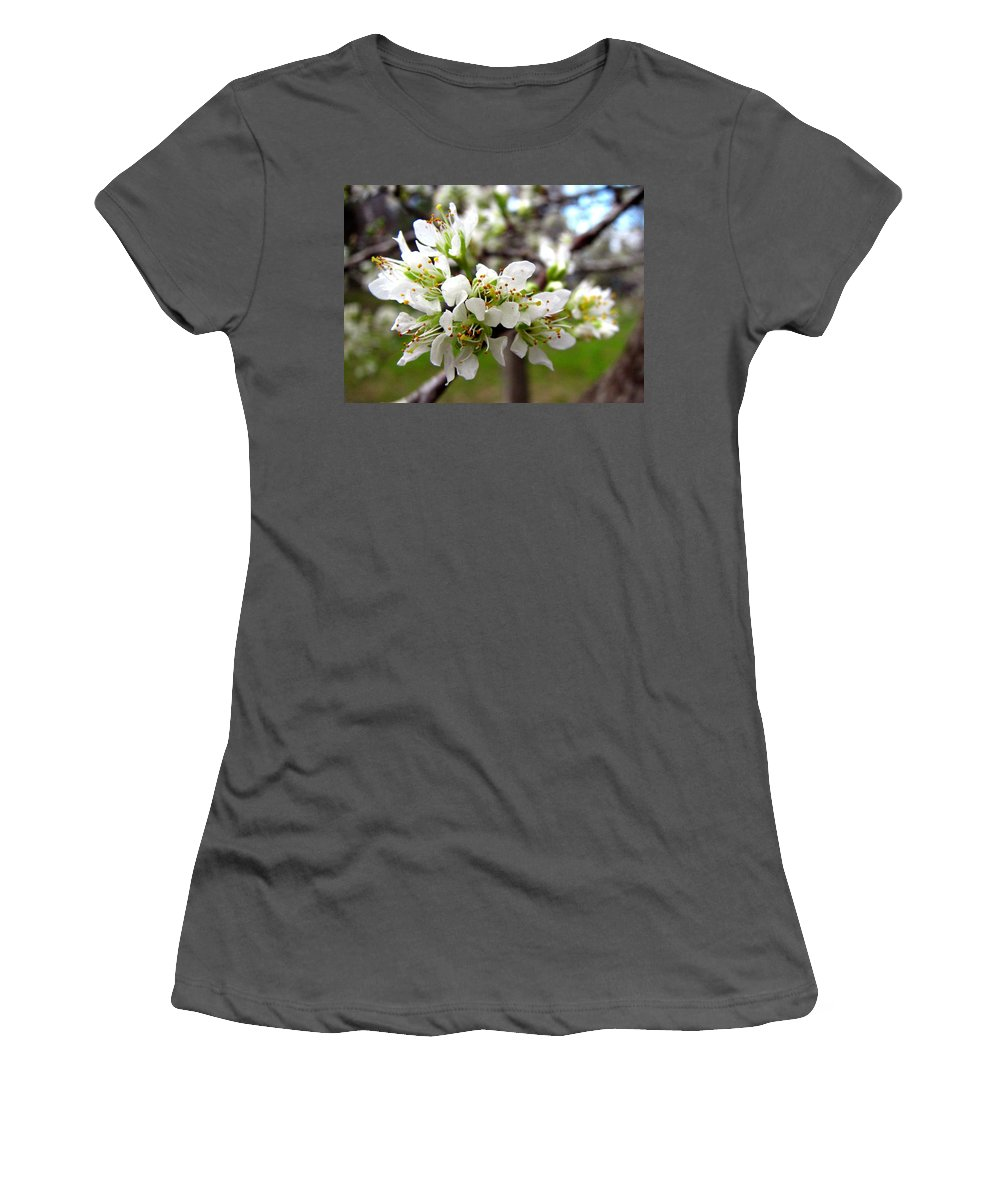 Hog Plum Women's T-Shirt (Athletic Fit) featuring the photograph Hog Plum Blossoms by J M Farris Photography