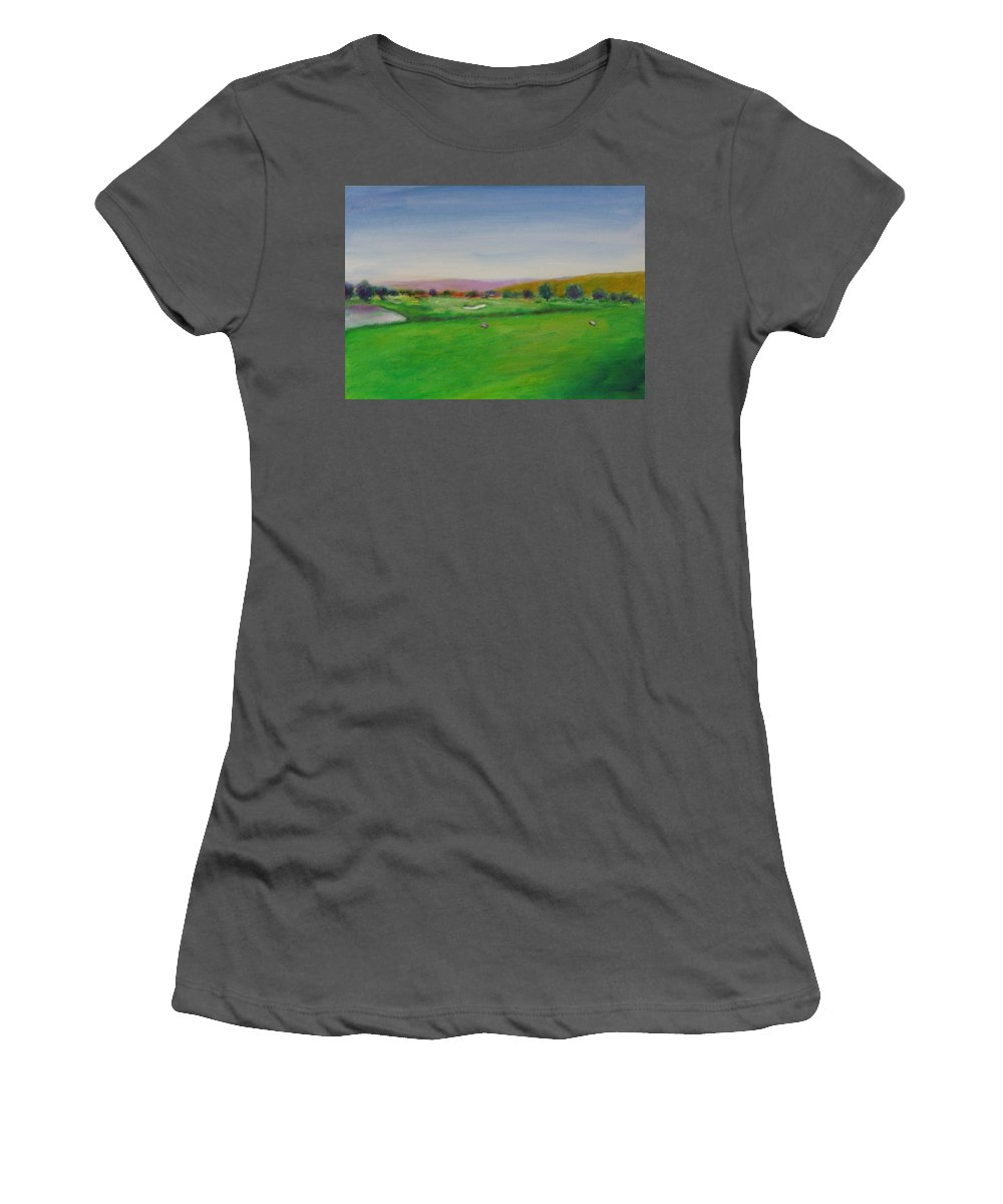 Golf Women's T-Shirt (Athletic Fit) featuring the painting Hole 7 Of Mice And Men by Shannon Grissom