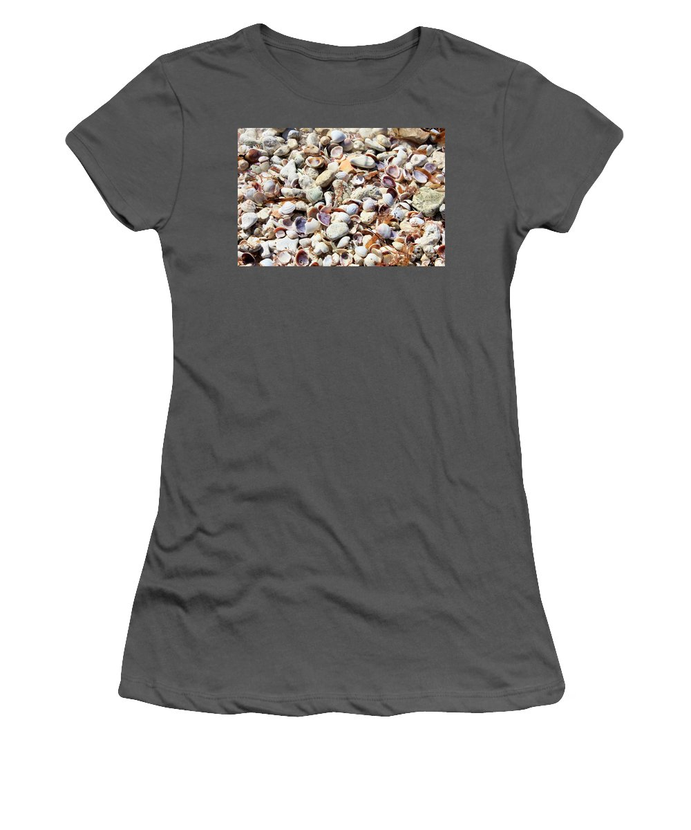 Shells Women's T-Shirt (Athletic Fit) featuring the photograph Honeymoon Island Shells by Carol Groenen