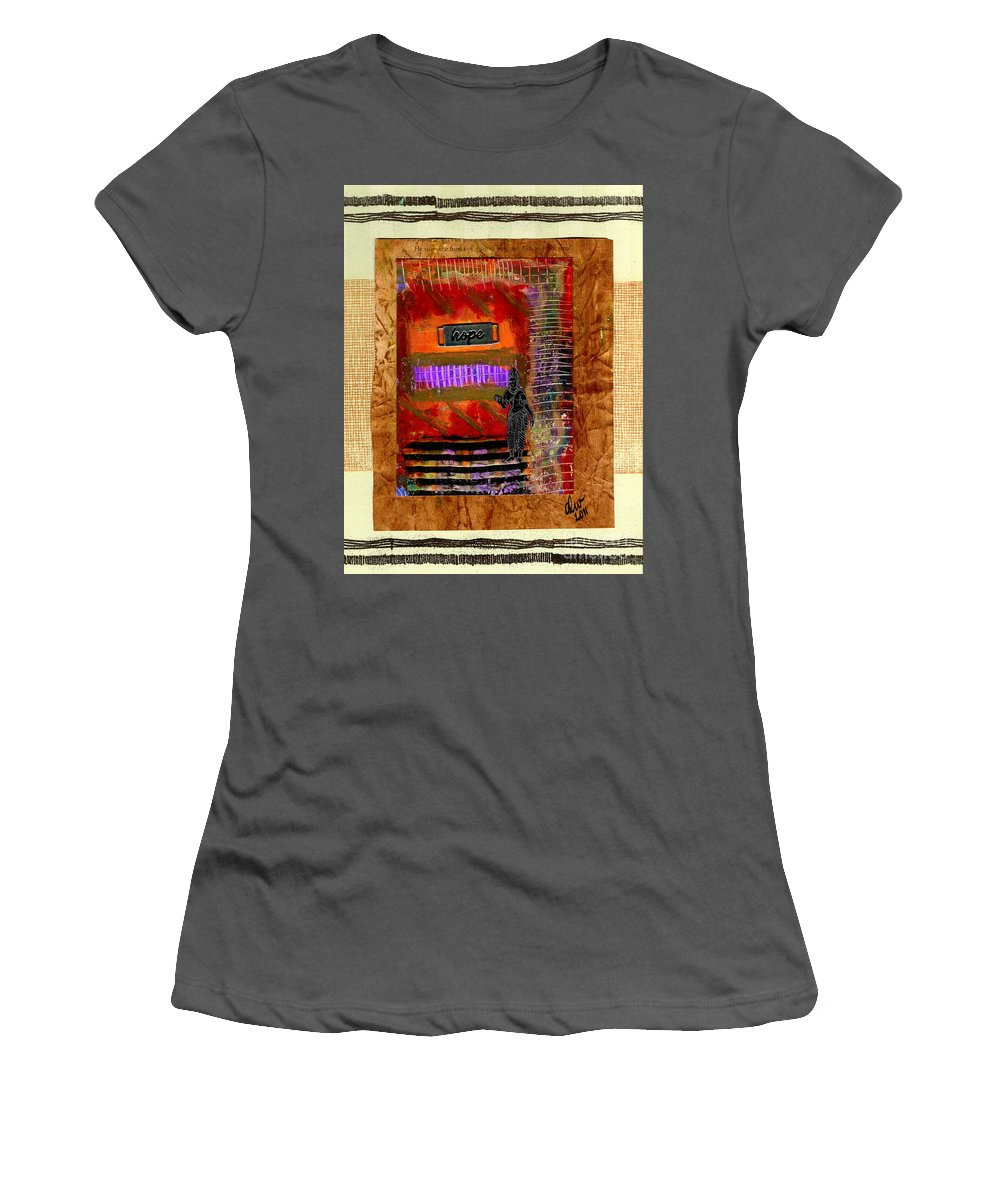 Gretting Cards Women's T-Shirt (Athletic Fit) featuring the mixed media Hope Advocate by Angela L Walker