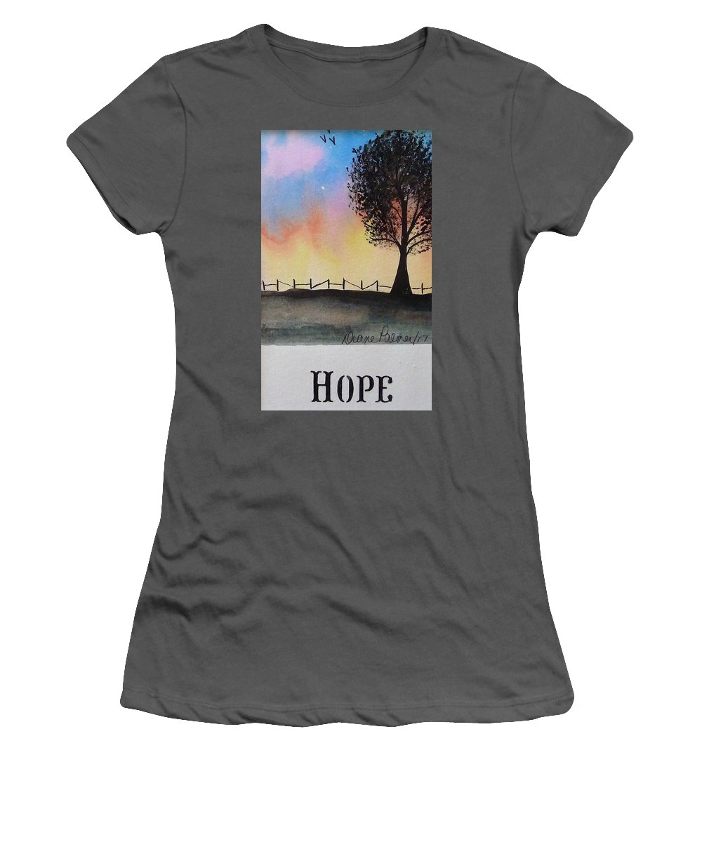 Hope Women's T-Shirt (Athletic Fit) featuring the painting Hope by Diane Palmer
