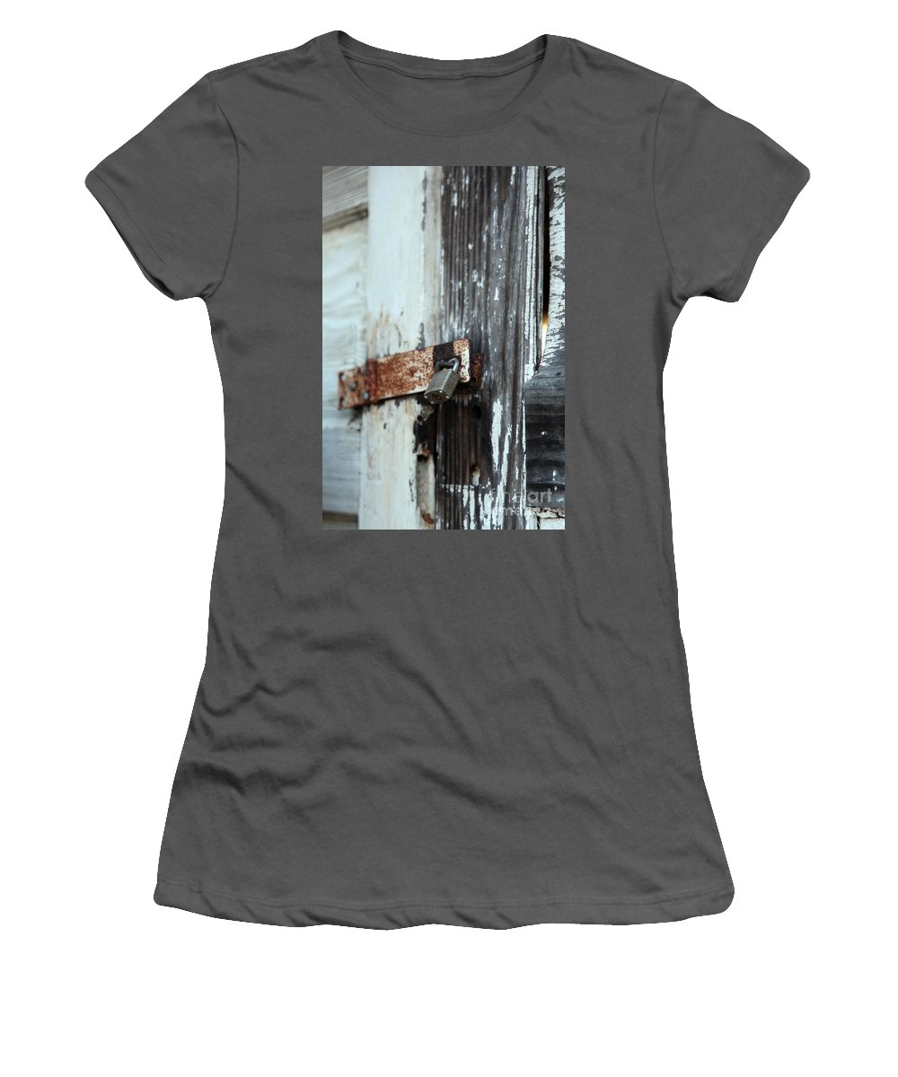 hopelessly Locked Women's T-Shirt (Athletic Fit) featuring the photograph Hopelessly Locked by Amanda Barcon