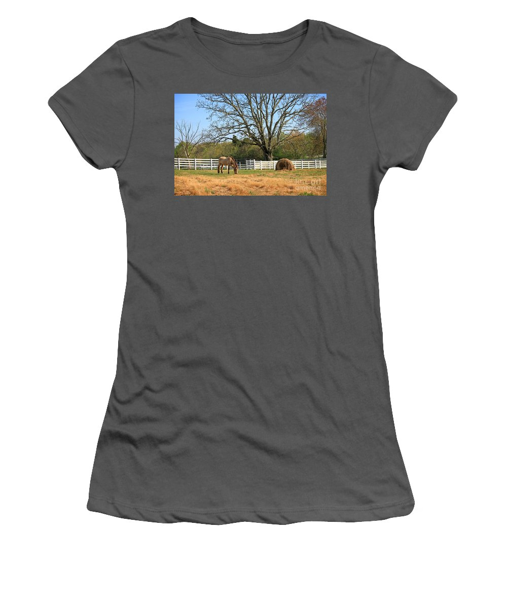 Landscape Women's T-Shirt (Athletic Fit) featuring the photograph Horse And Hay by Todd Blanchard