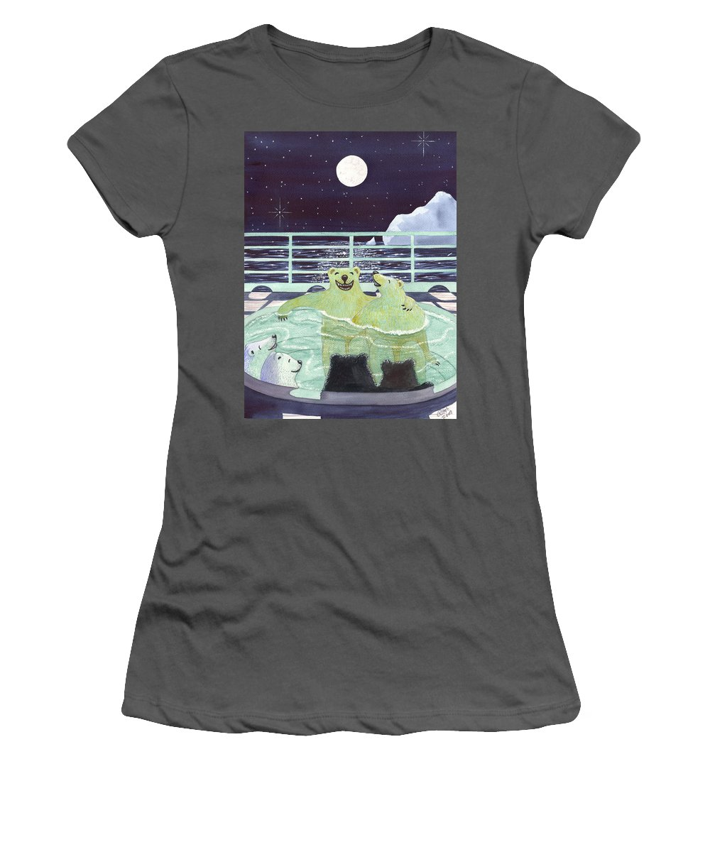 Bears Women's T-Shirt (Athletic Fit) featuring the painting Hot Tubbin by Catherine G McElroy