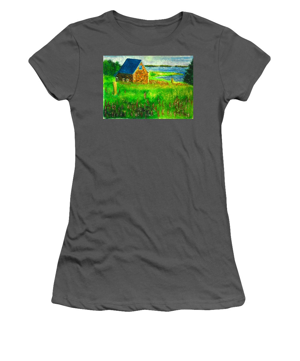 House Women's T-Shirt (Athletic Fit) featuring the painting House By The Field by Matthew Doronila