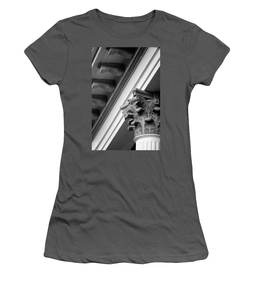 Black And White Women's T-Shirt (Athletic Fit) featuring the photograph House Column Black And White by Jill Reger