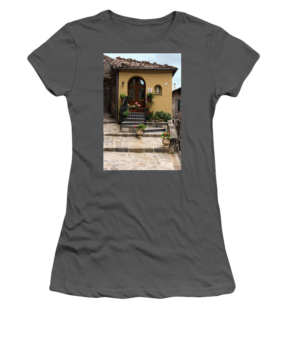 House Entrance Women's T-Shirt (Athletic Fit) featuring the photograph House Entrance by Sally Weigand