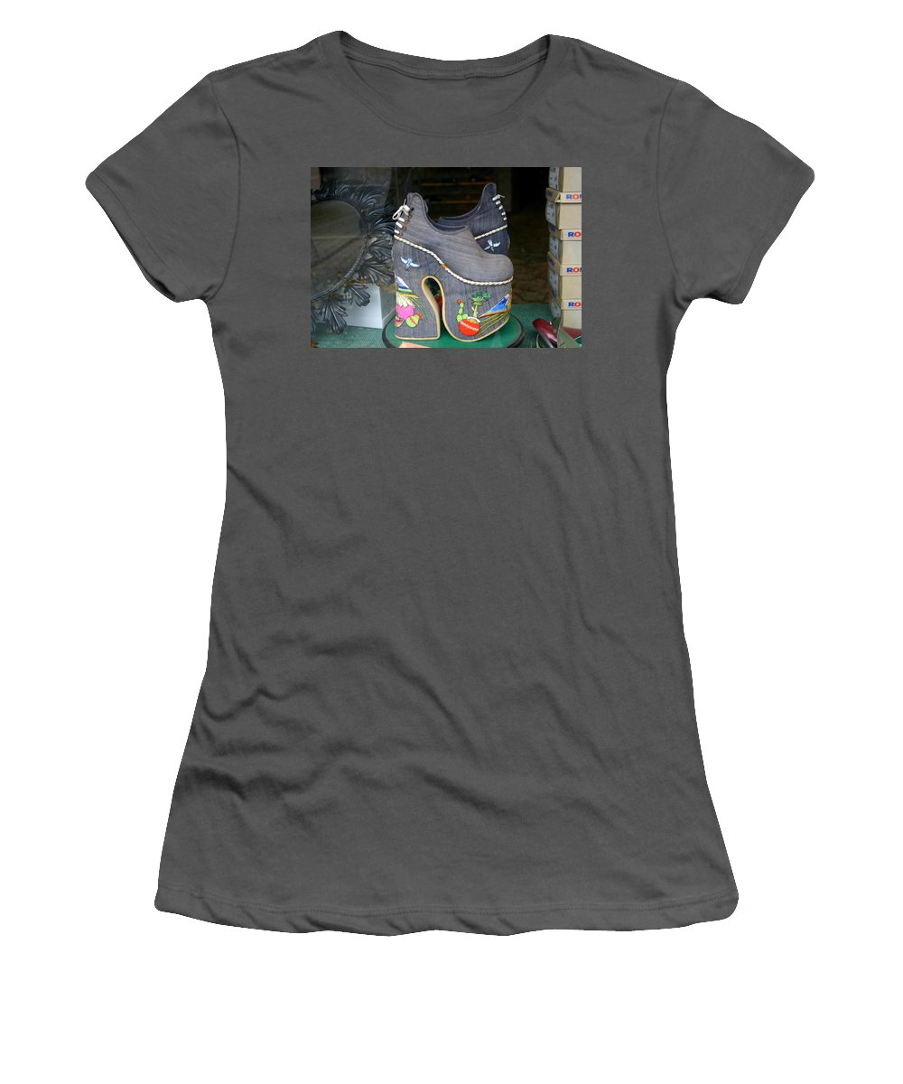 Shoes Women's T-Shirt (Athletic Fit) featuring the photograph How Much Are Those Shoes In The Window by Minaz Jantz