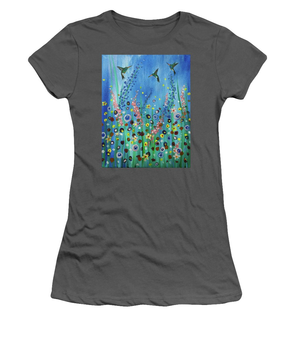 Hummingbirds Women's T-Shirt (Athletic Fit) featuring the painting Hummingbirds by Noel Cole