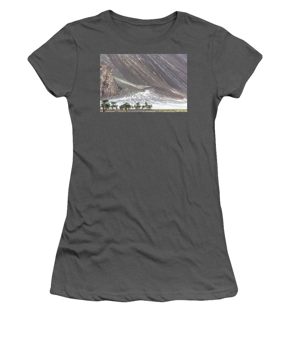 Hunder Women's T-Shirt (Athletic Fit) featuring the photograph Hunder Desert, Hunder, 2005 by Hitendra SINKAR