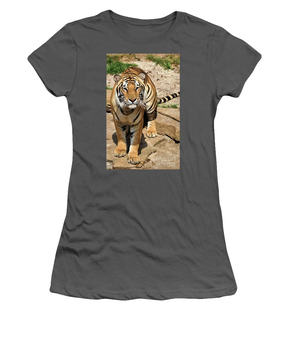 Tiger Women's T-Shirt (Athletic Fit) featuring the photograph Hunger Tiger by Eric Pearson