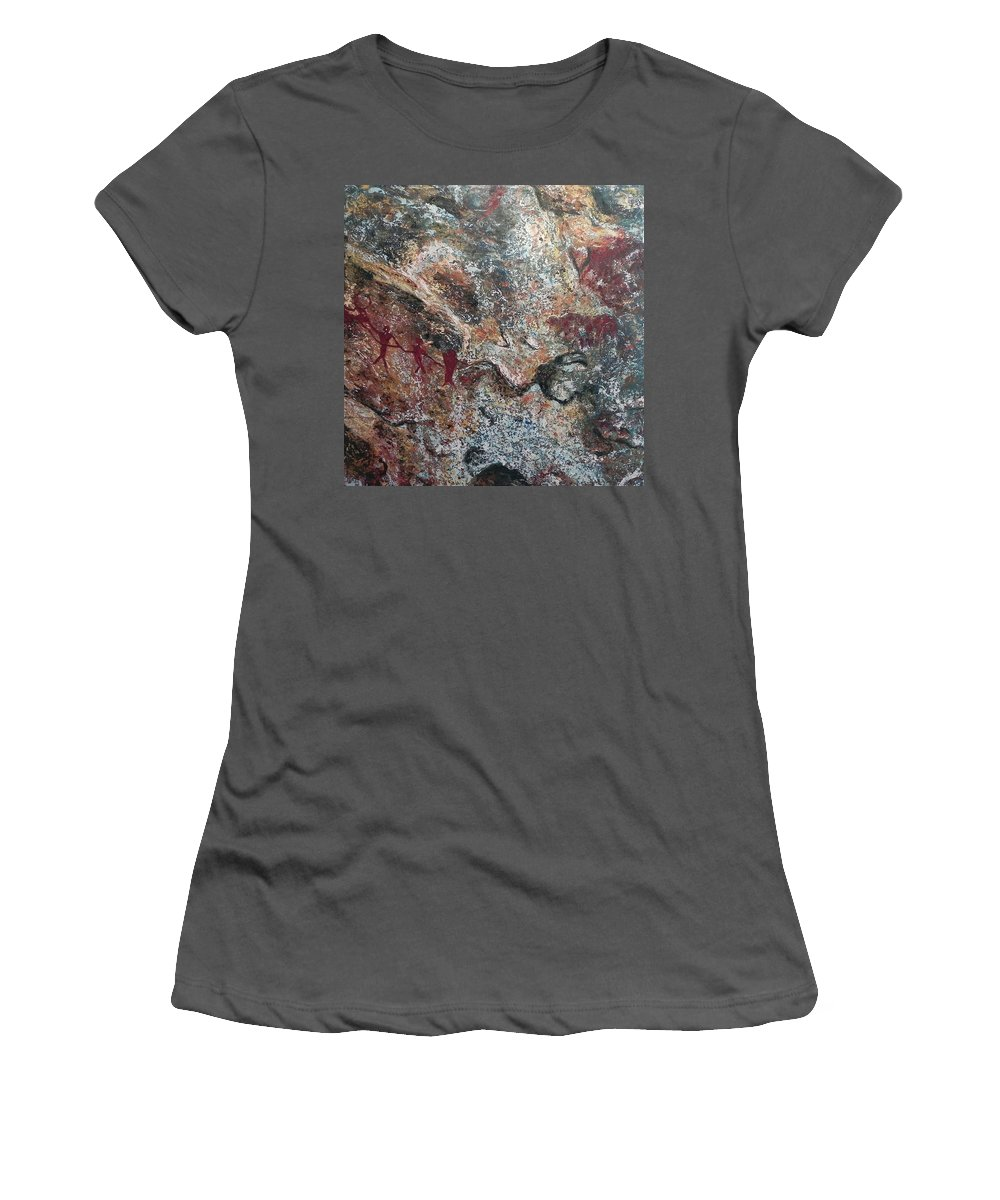 Cave Women's T-Shirt (Athletic Fit) featuring the painting Hunters by Ericka Herazo