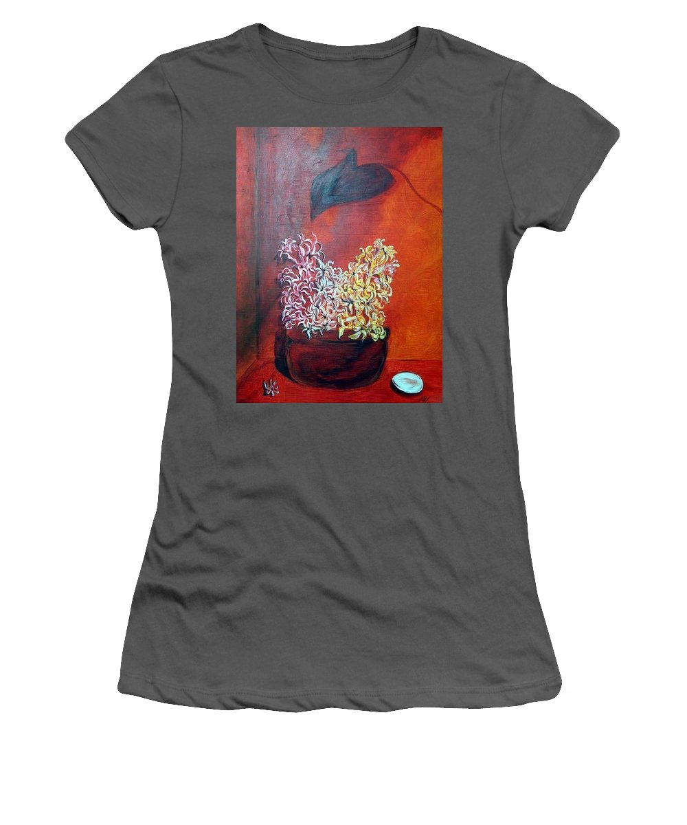 Flowers Women's T-Shirt (Athletic Fit) featuring the painting Hyacinths In Shape Times 3 by Lisa Stanley