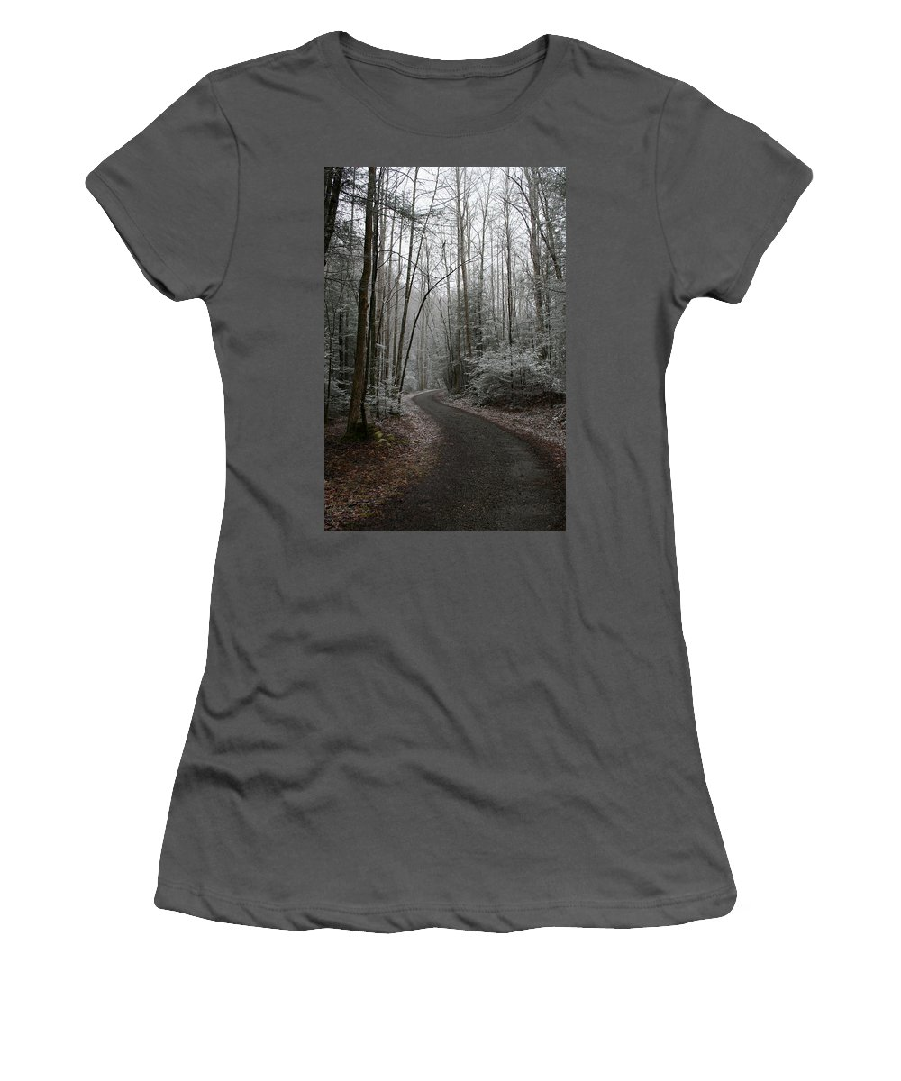 Nature Road Country Woods Forest Tree Trees Snow Winter Peaceful Quite Path White Forest Drive Women's T-Shirt (Athletic Fit) featuring the photograph I Am The Way by Andrei Shliakhau
