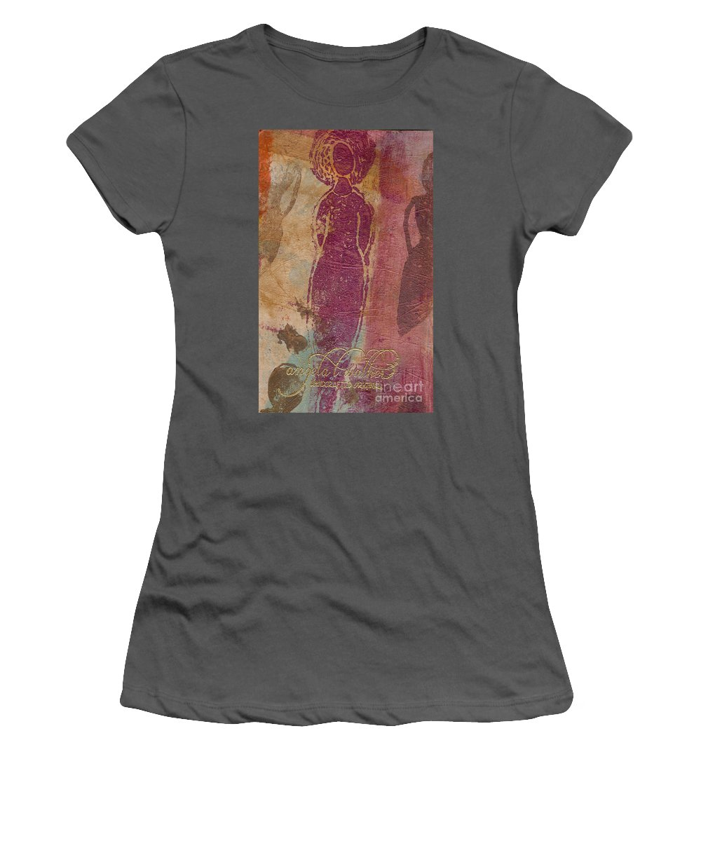 Wood Women's T-Shirt (Athletic Fit) featuring the mixed media I Am Woman Yes I Am by Angela L Walker