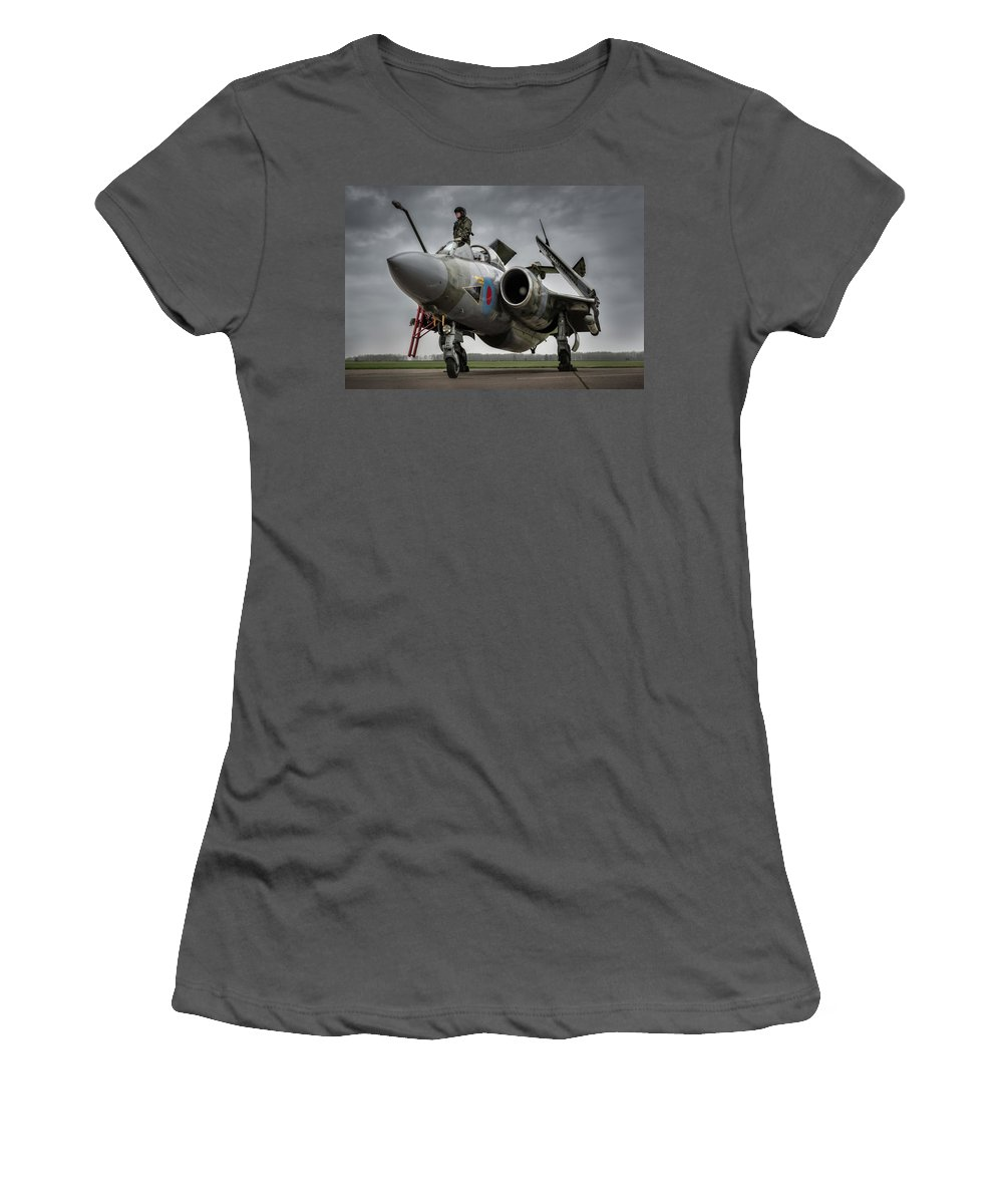 Aircraft Women's T-Shirt (Athletic Fit) featuring the photograph I Can See The Pub From Here by Simon Johnson