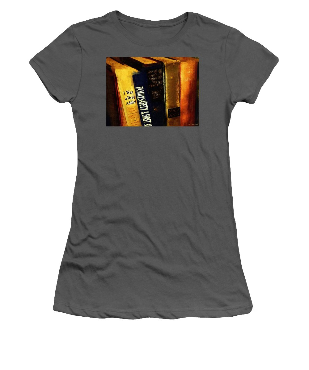 Books Women's T-Shirt (Athletic Fit) featuring the painting I Was A Drug Addict And Other Great Literature by RC DeWinter