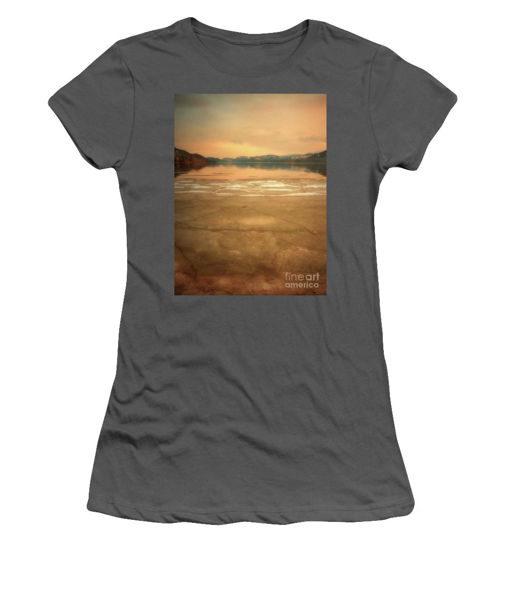 Mounatins Women's T-Shirt (Athletic Fit) featuring the photograph Icy Sunset by Tara Turner