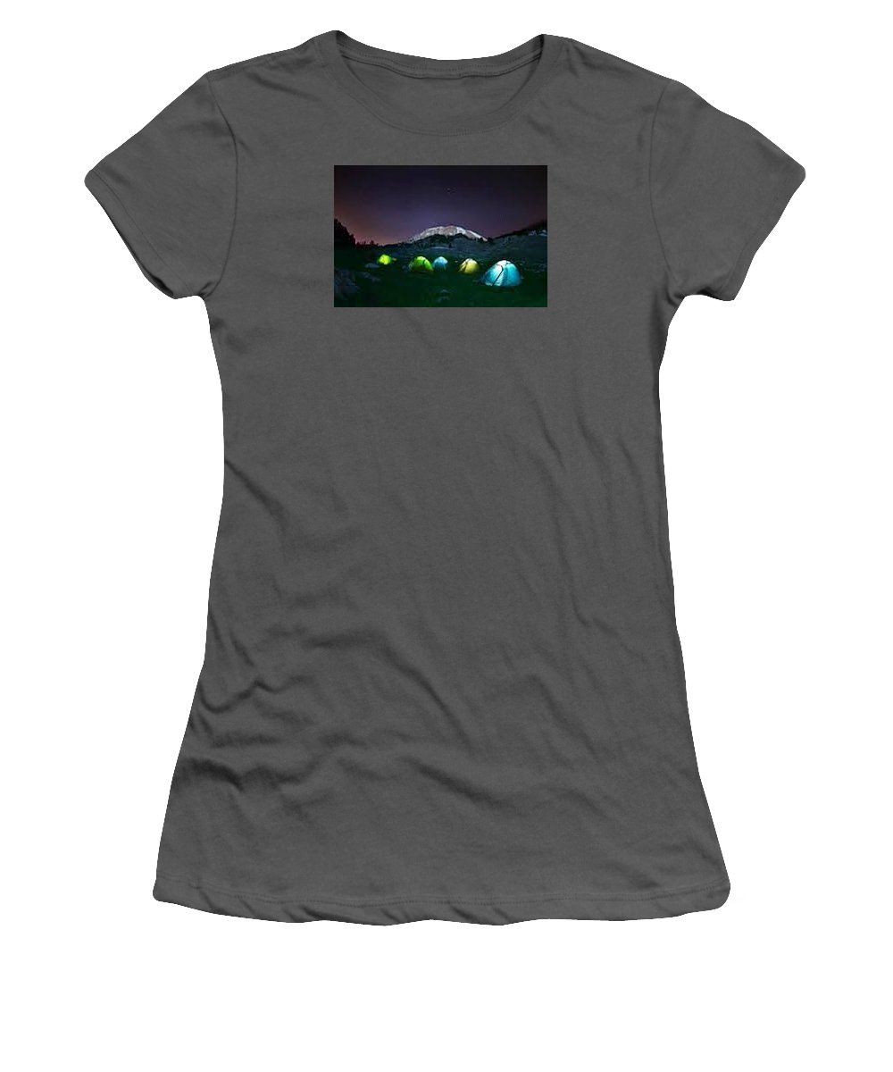 Women's T-Shirt (Athletic Fit) featuring the photograph Illuminated Yellow Camping Tent At Night by Gear Head Junkie