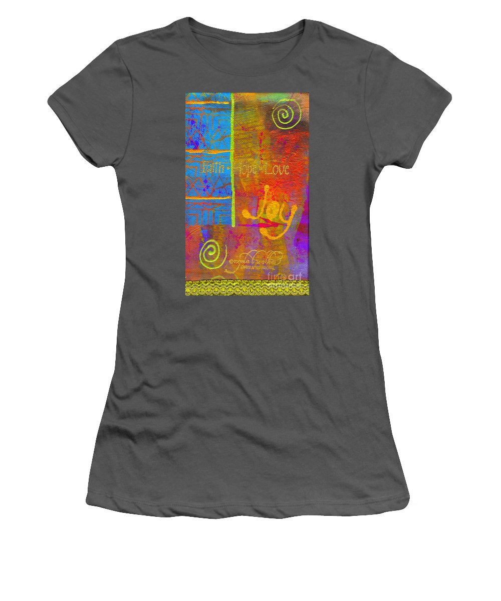 Woman Women's T-Shirt (Athletic Fit) featuring the mixed media Imagine Joy by Angela L Walker