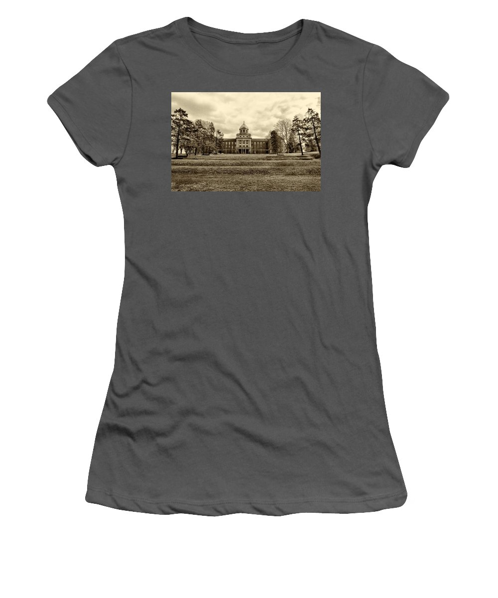 Immaculata Women's T-Shirt (Athletic Fit) featuring the photograph Immaculata University In Black And White by Bill Cannon