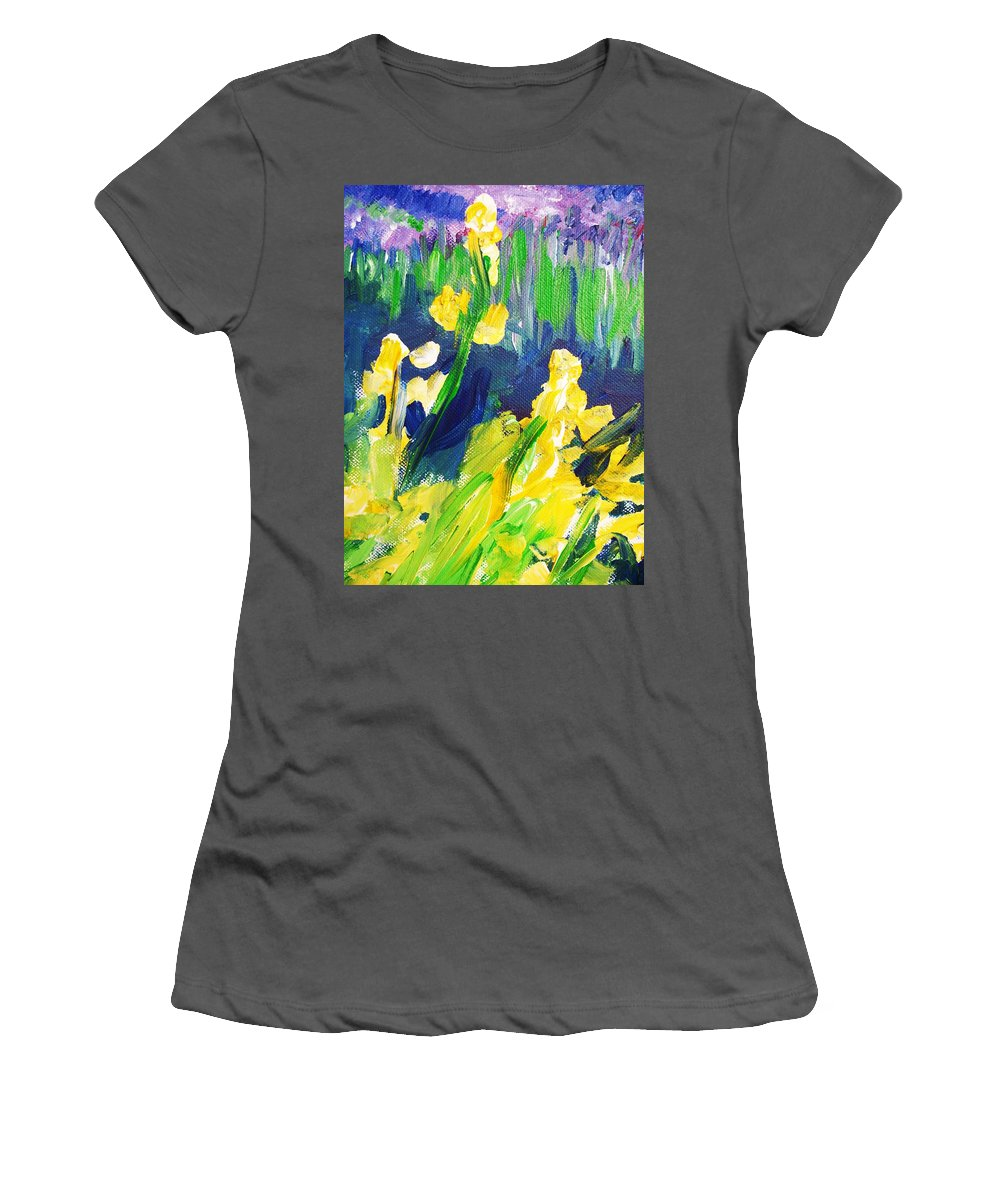 Impressionism Women's T-Shirt (Athletic Fit) featuring the painting Impression Flowers by Eric Schiabor