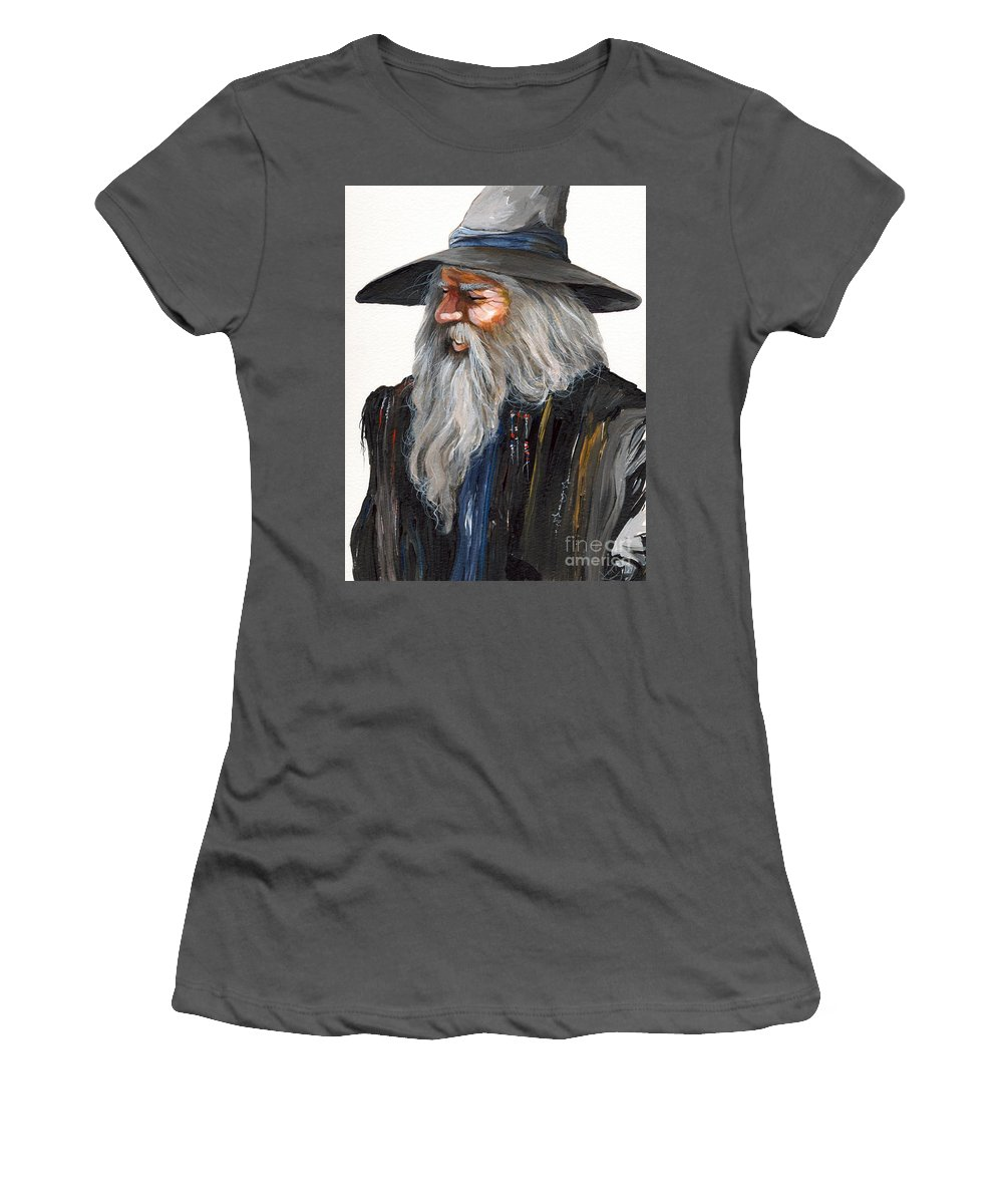 Fantasy Art Women's T-Shirt (Athletic Fit) featuring the painting Impressionist Wizard by J W Baker