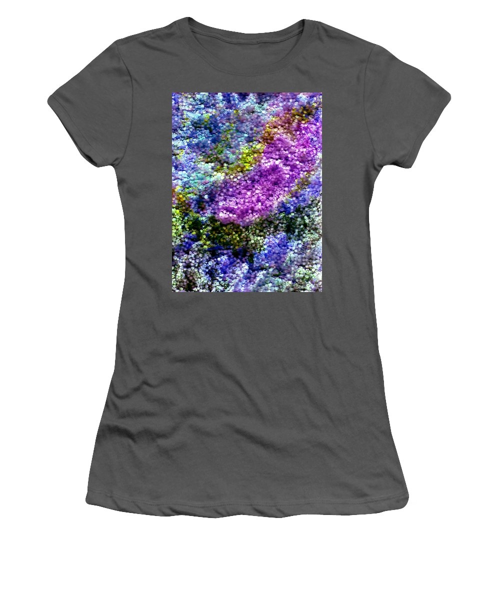 Abstract Women's T-Shirt (Athletic Fit) featuring the painting Impressions From The Garden by Wayne Potrafka