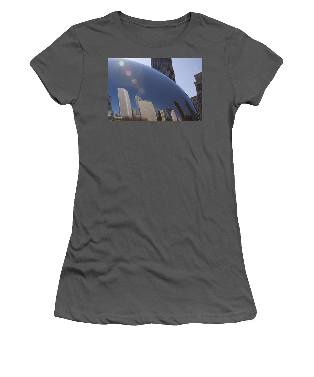 Chicago City Windy Wind Bean Park Sun Reflect Reflection Metro Urban Art Women's T-Shirt (Athletic Fit) featuring the photograph In The Bean by Andrei Shliakhau