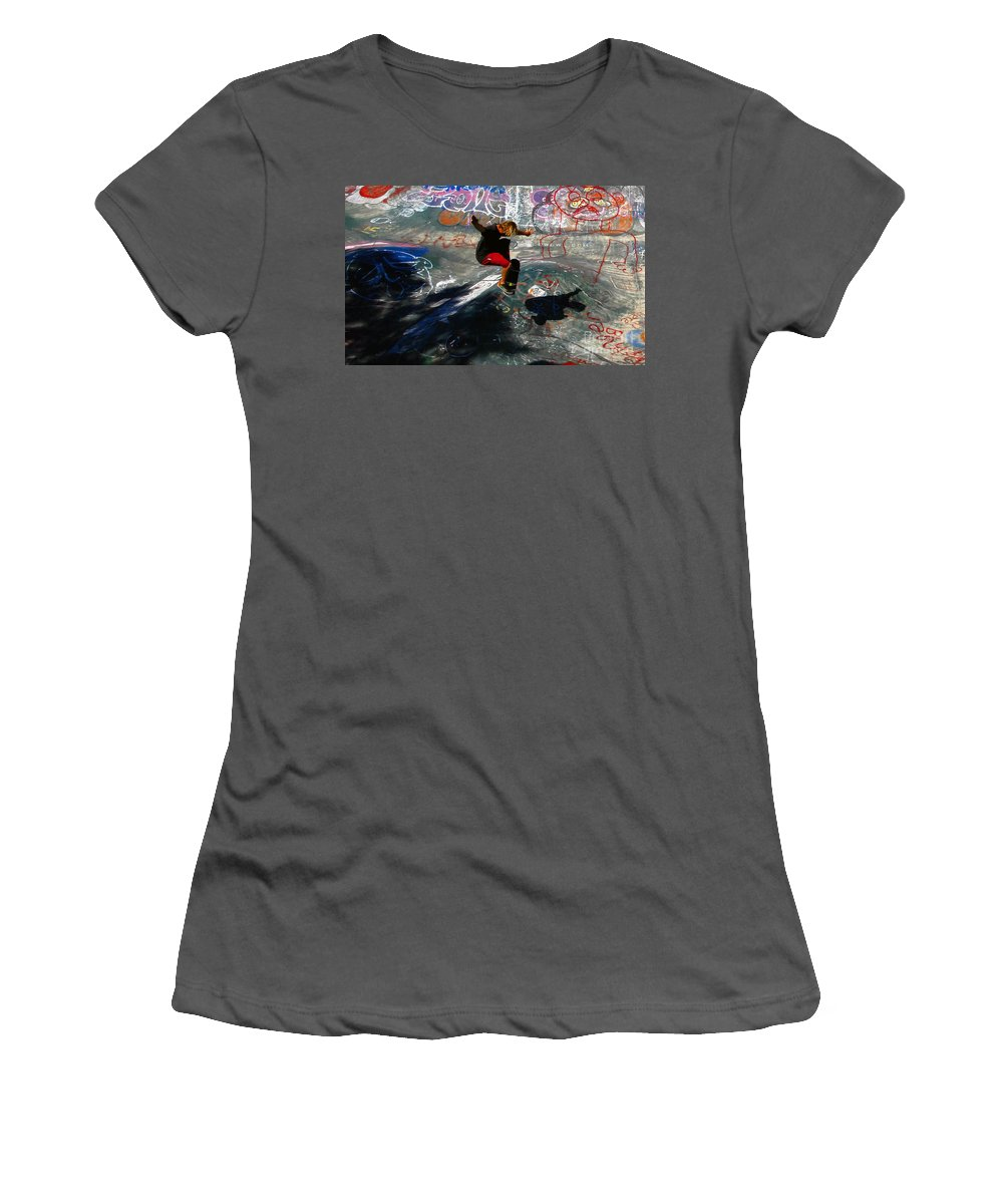 Skateboarding Women's T-Shirt (Athletic Fit) featuring the photograph In The Moment by David Lee Thompson