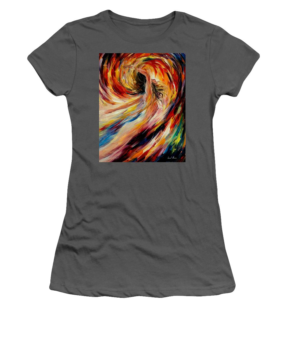 Nude Women's T-Shirt (Athletic Fit) featuring the painting In The Vortex Of Passion by Leonid Afremov