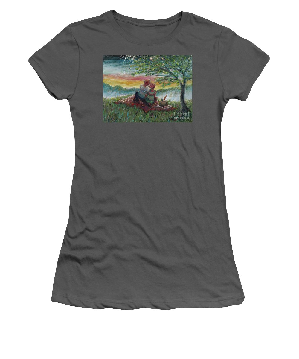 Landscape Women's T-Shirt (Athletic Fit) featuring the painting Independance Day Pignic by Nadine Rippelmeyer