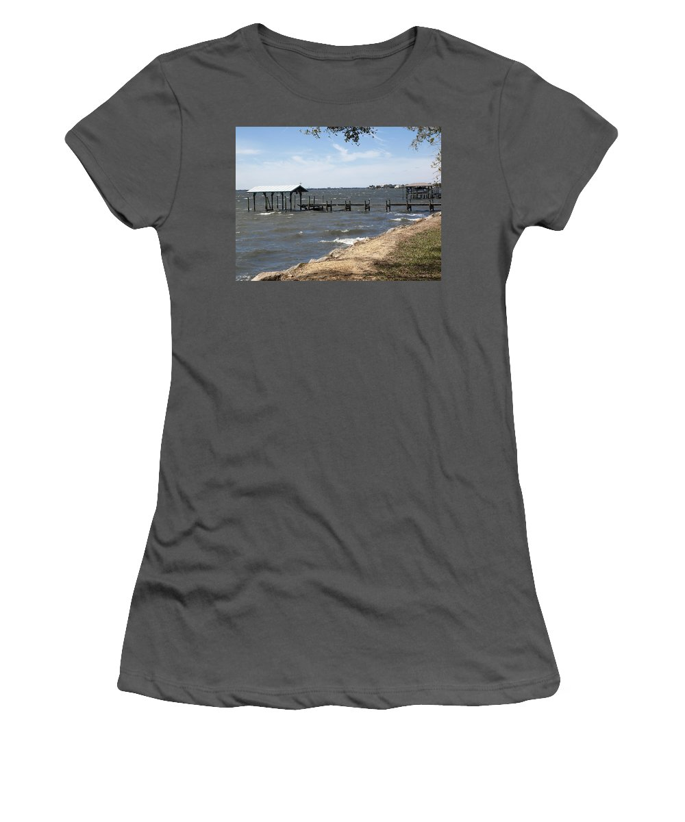 Florida Women's T-Shirt (Athletic Fit) featuring the photograph Indian River Lagoon At Indialantic Florida by Allan Hughes