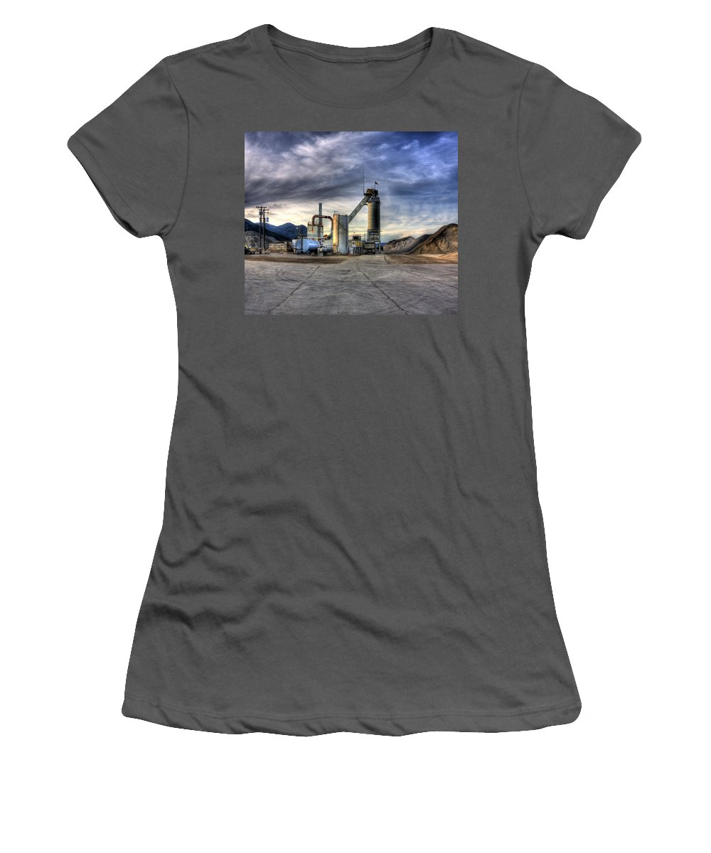 Industrial Landscape Women's T-Shirt (Athletic Fit) featuring the photograph Industrial Landscape Study Number 1 by Lee Santa