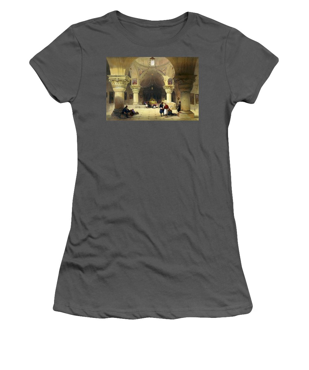 Church Of The Holy Sepulchre Women's T-Shirt (Athletic Fit) featuring the digital art Inside The Church Of The Holy Sepulchre In Jerusalem by Munir Alawi